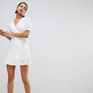White Crochet Wrap Dress